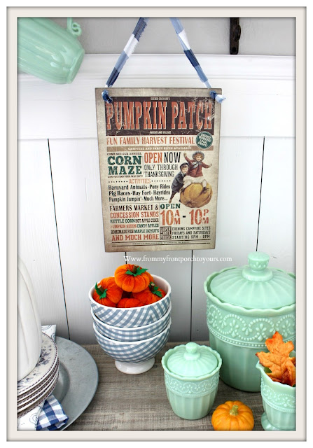 Fall -Breakfast -Nook- Decor-Vintage-Inspired-Pumpkin-Patch-Sign-Blue-White-Gingham-Bowls-Jadeite-Pioneer Woman-Timeless-Beauty-From My Front Porch To Yours