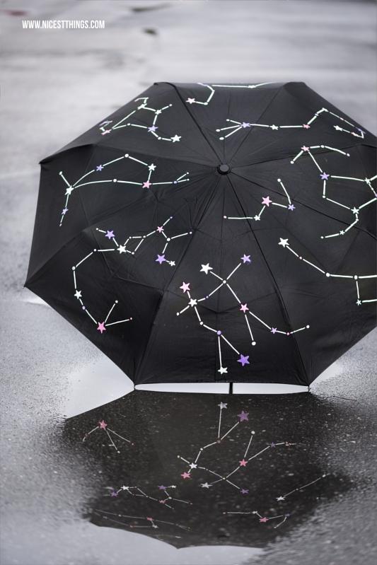 Schirm bemalen Regenschirm DIY Sternbilder Constellation Umbrella
