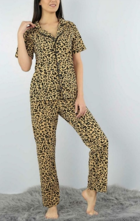 Pijama dama din 2 piese cu imprimeu leopard