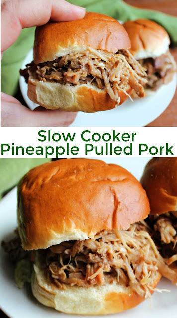 Fork tender pulled pork is super easy to make in the slow cooker.  This recipe is flavored with the tastes of a Pacific island with the help of pineapple, soy sauce, and Chinese 5 spice.  It adds a fun twist to a meat we all know and love.  Pile it high on sandwiches or serve it over rice. Both ways are a simple but tasty way to get a meal on the table.