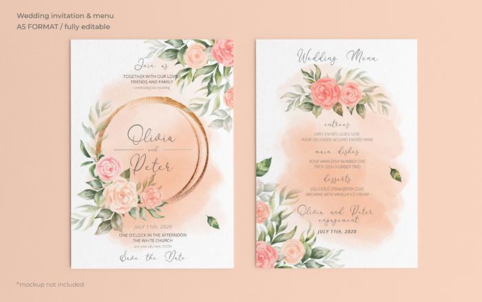 Floral Wedding Invitation Menu Template 2