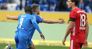 البوندسليغا فوز ساحق لفريق نادي هوفنهايم علي بايرن ميونخ 4-1 الدوري الالماني