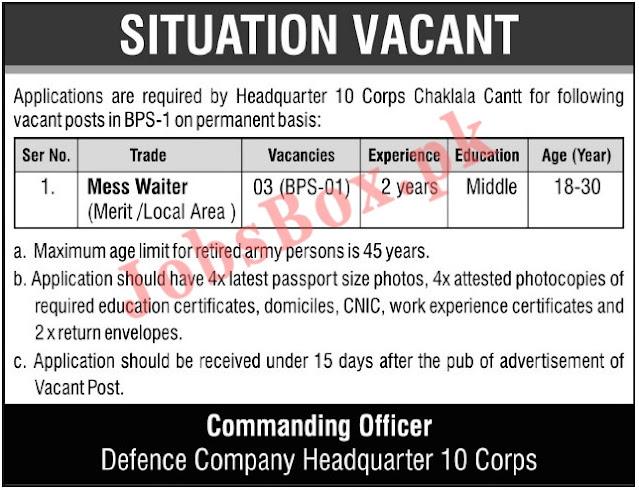 New Pak Army Jobs 2021 As Civilian