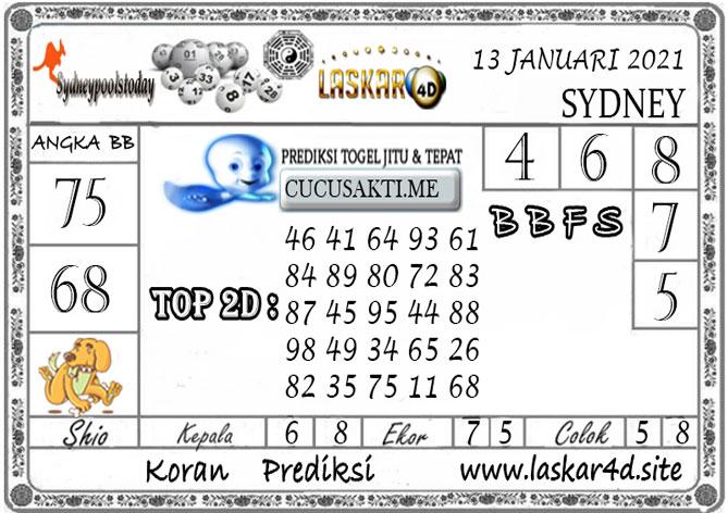 Prediksi Togel SYDNEY LASKAR4D 13 JANUARI 2021