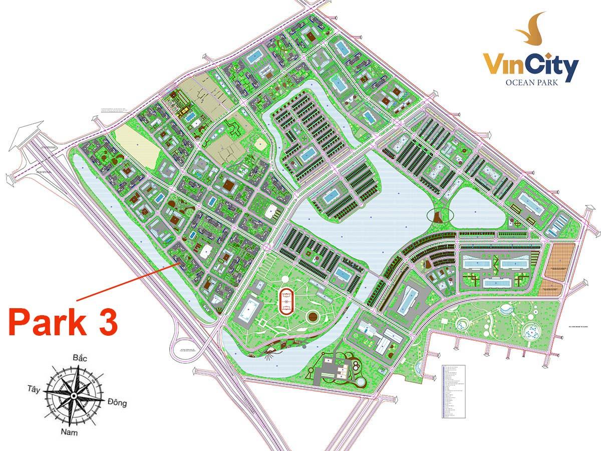 Vị trí Tòa Park 3 VinCity Gia Lâm