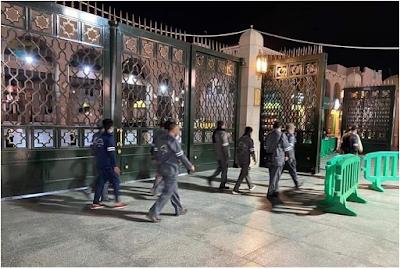 تم اغلاق المسجد النبوي