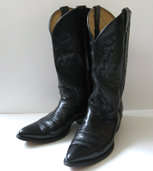 Justin Black Leather Cowboy Boots Womens Size 10 105