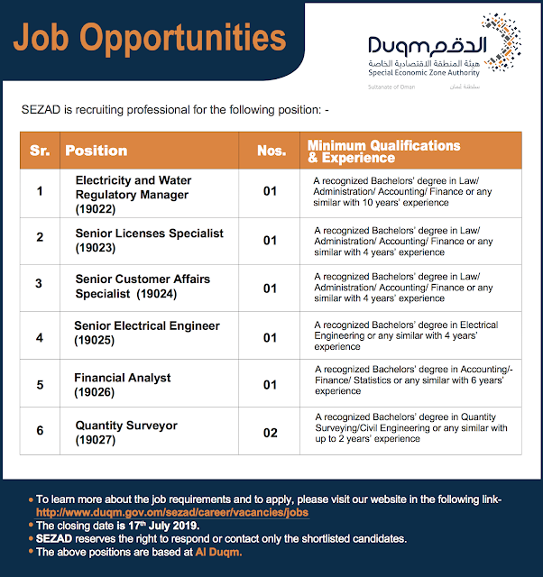 Jobs in Duqm - opportunities at Sezad