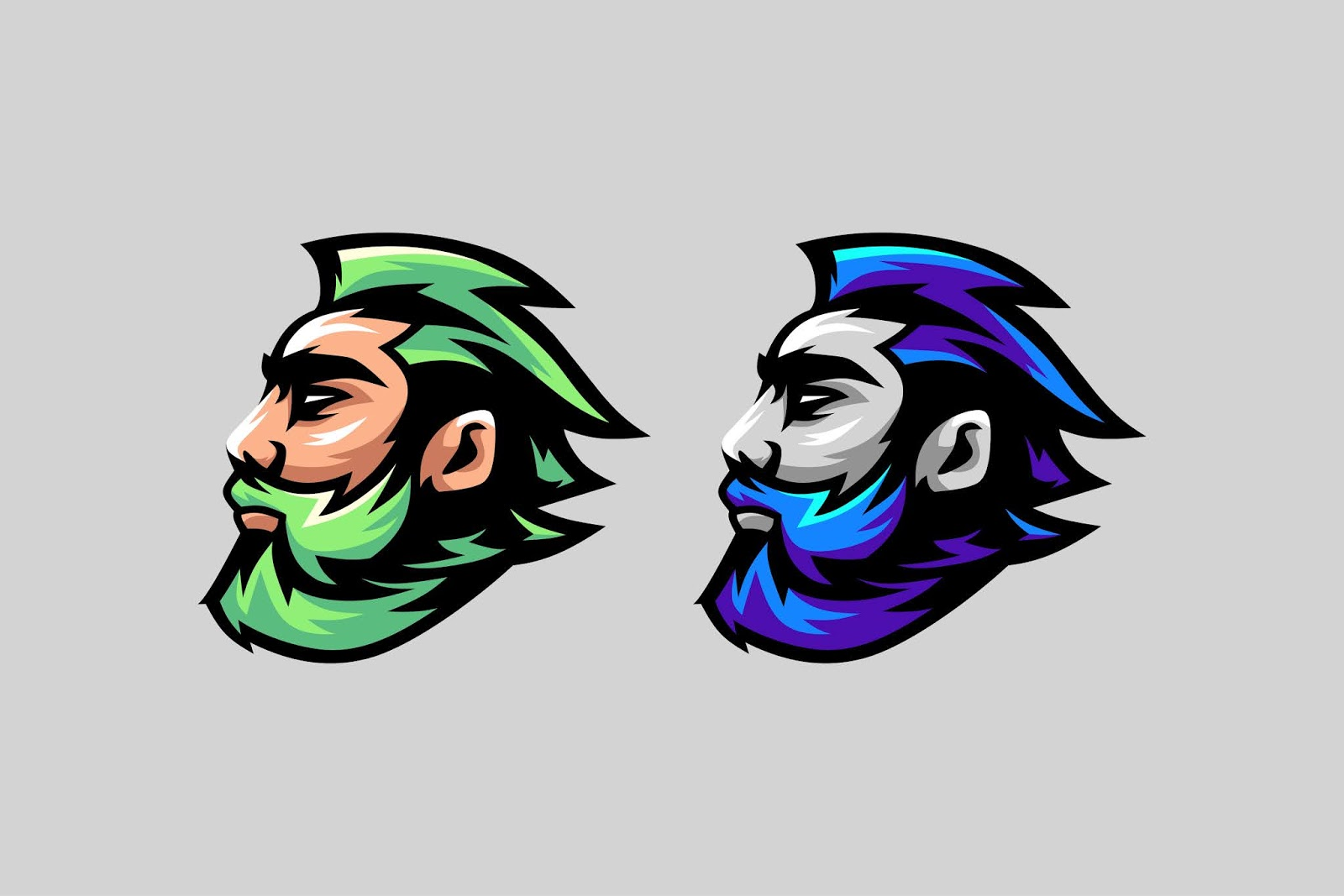 Beard Logo Awesome Logo Option Color Free Download Vector CDR, AI, EPS and PNG Formats
