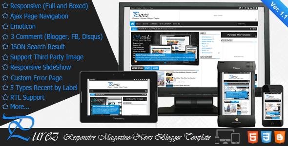 Purez - Responsive Magazine Blogger Template