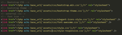 contain tags to load css and JavaScript