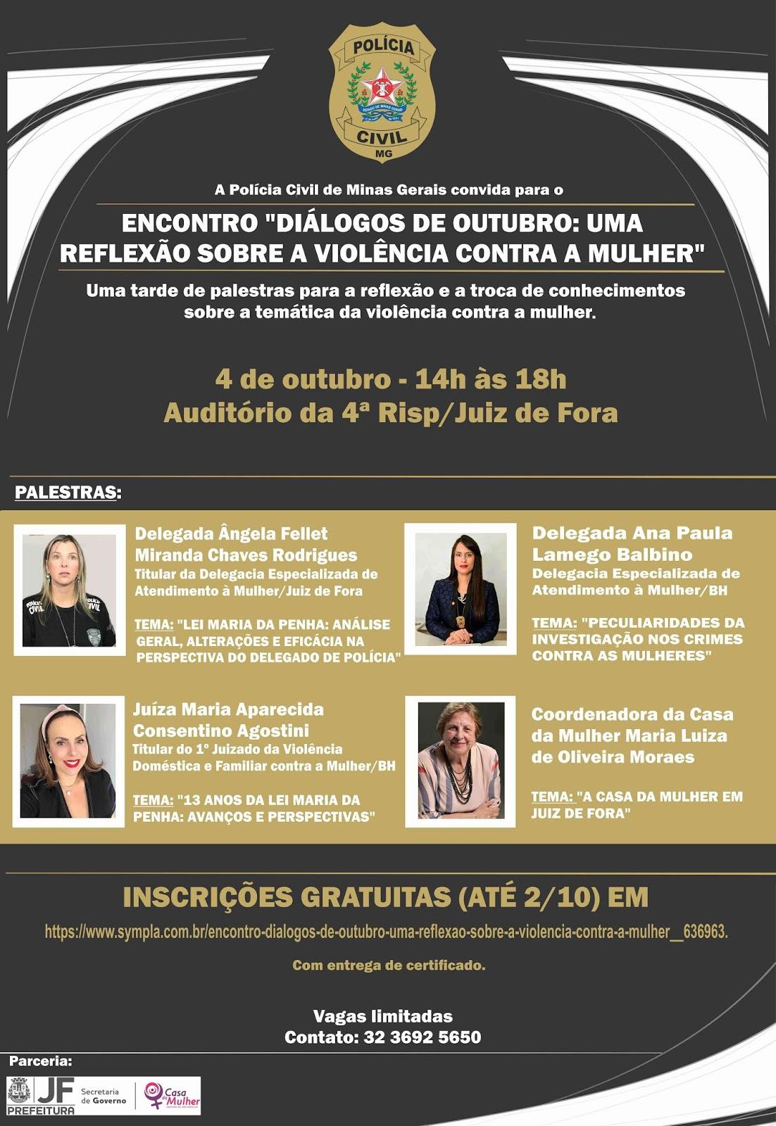PCMG Juiz de Fora - Diálogos de outubro - Violência contra a mulher