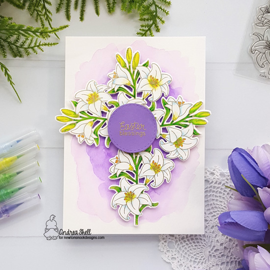 Easter Lily Card by Andrea Shell | Easter Lily Stamp Set and Frames Squared Die Set by Newton's Nook Designs #newtonsnook #hand