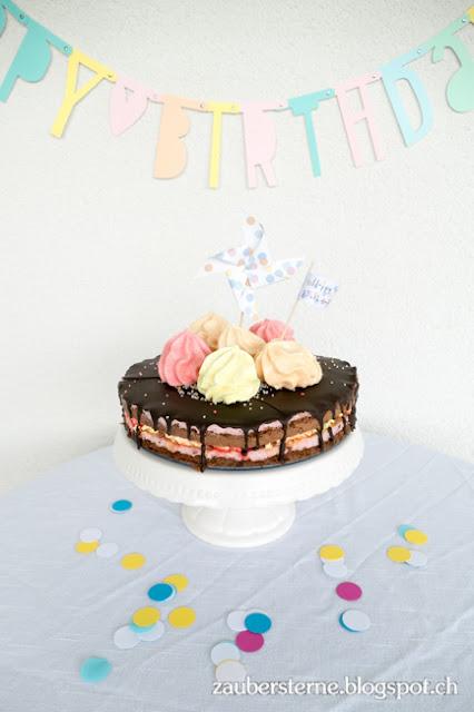 Meringue Kuchen, Kindergeburtstag, Konfetti Party