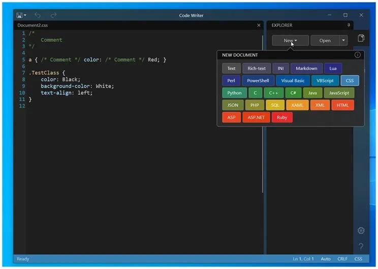 Code Writer : Εφαρμογή επεξεργασίας κειμένου και κώδικα