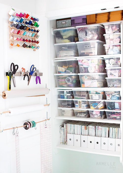 Tupperware+storage+for+craft+studio+organization Craft Room Storage and Organization from Armelle Studio