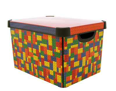Lidded box with a Lego pattern