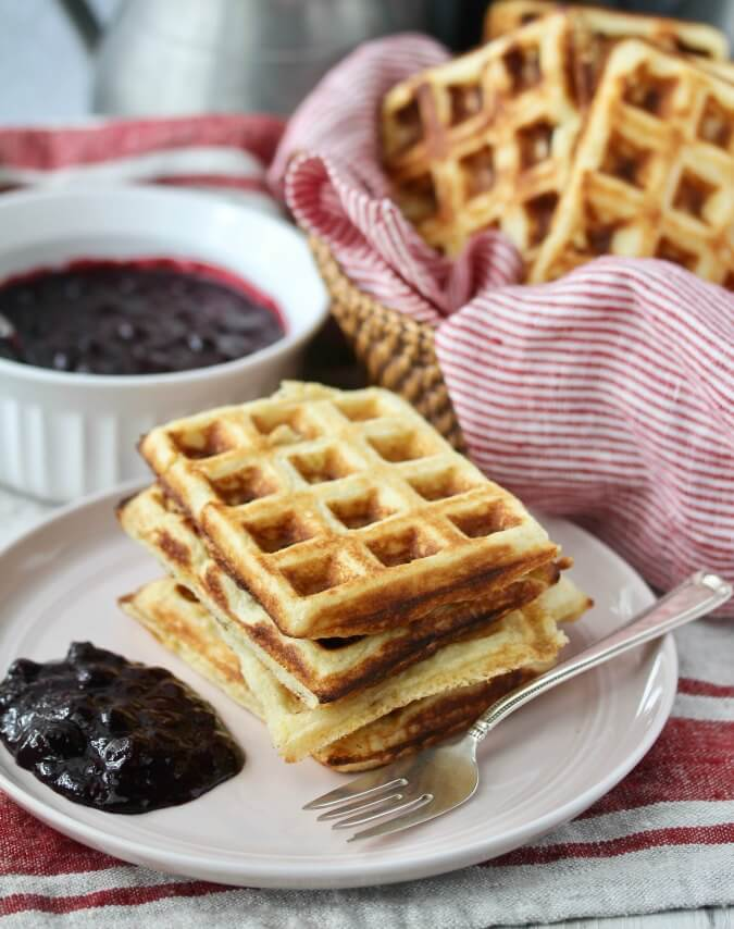 Cornmeal Yeasted Waffles with Blueberry Sauce