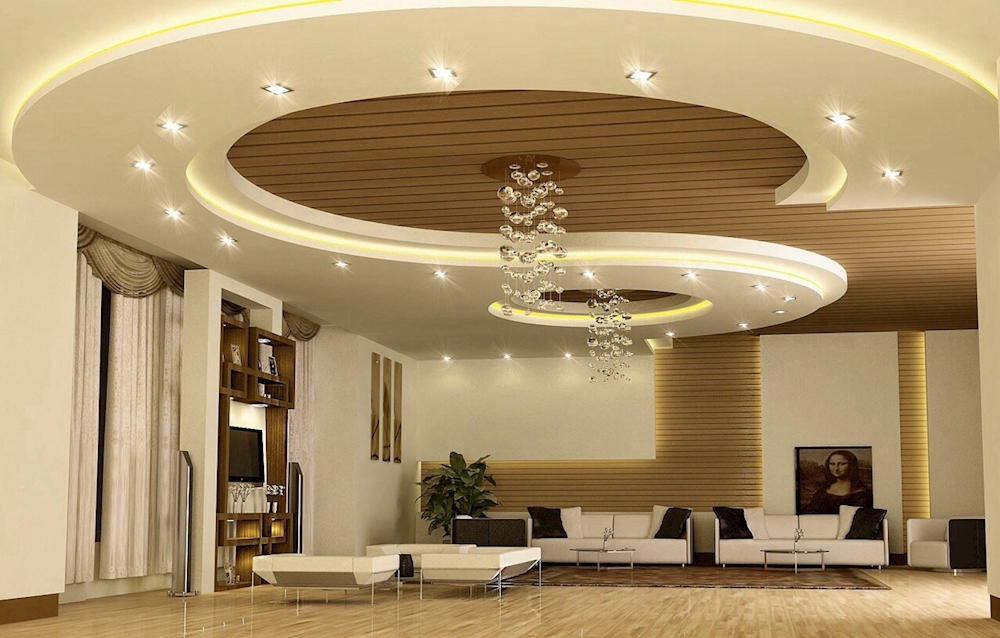 Top suspended ceiling designs gypsum board ceilings 2018 for Latest living hall design