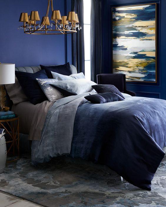 Decorating Ideas Luxurious Ocean Blue Bedding From Donna Karan Home 01