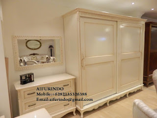 Indonesia Furniture Exporter,Classic Furniture,French Provincial Furniture Indonesia code A167 white painted armoire classic french