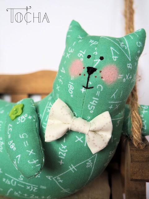 cat, mathematical, maths, science, chalkboard, bow tie, graduation, Academic Club Math Genius, teal, Benartex, craft cotton, Frumble, teacher, school, university, stuffed toy, home decor,