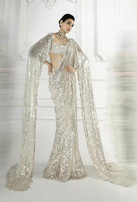 Manish Malhotra lehengas pearl white sequins saree