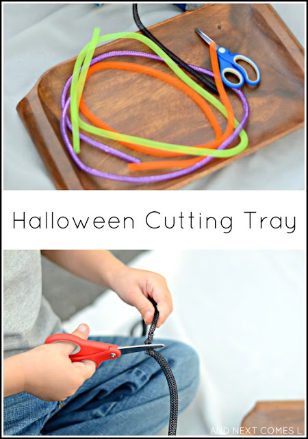 Halloween themed cutting tray for toddlers and preschoolers to practice fine motor scissor skills from And Next Comes L
