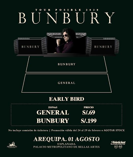 precios de entardas Enrique Bunbury en Arequipa 2020