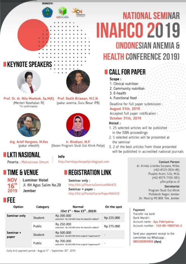 INACHO 2019: *INDONESIAN ANEMIA & HEALTH CONFERENCE 2019*