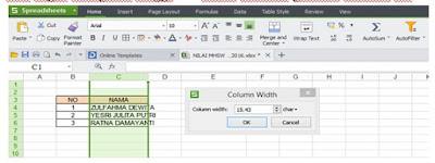 Mengatur Ukuran Sel di Spreadsheet dan Excel