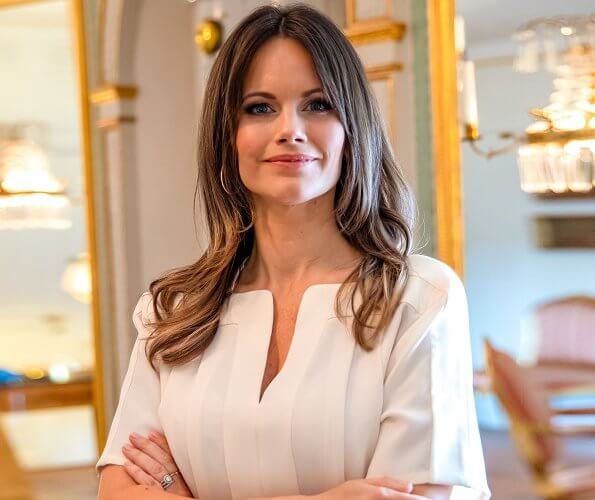 Princess Sofia wore an allie pleated  silk top from Viktoria Chan, and gold diamond nature ring from Ole Lynggaard Copenhagen. Princess Madeleine