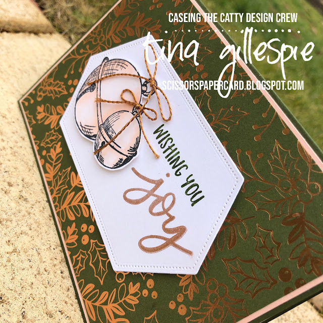 scissorspapercard, Stampin' Up!, CASEing The Catty, Cherish The Season, Joy To The World Paper Pumpkin, Brightly Gleaming SDSP, Stitched Nested Labels Dies