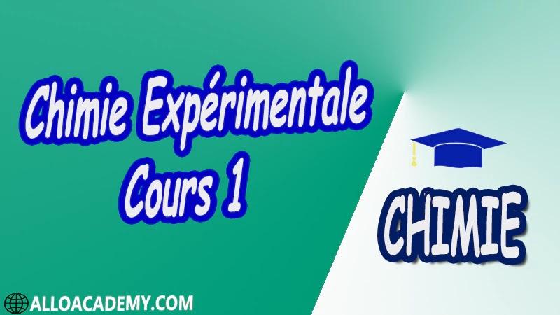 Chimie Expérimentale - Cours 1 pdf