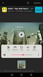 Cara edit video mengubah mengeraskan mengecilkan suara pada video menggunakan aplikasi Inshot di Android