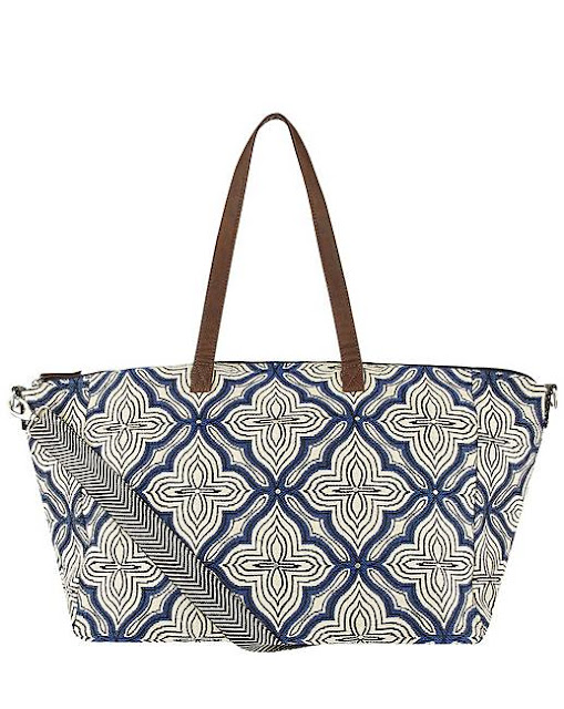 Women's fashion trends - giant blue and white patterned bag