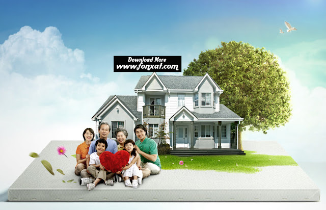 free psd download : Beautiful family and home