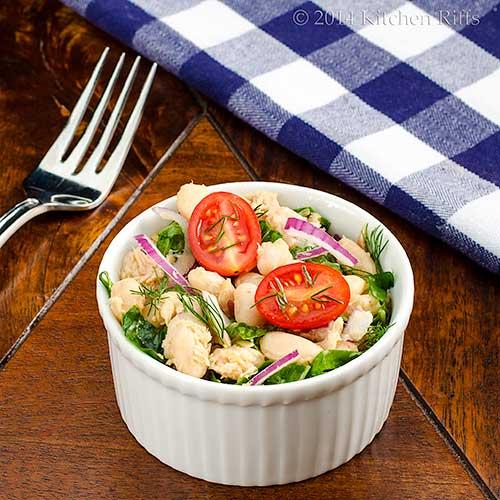 White Bean, Tuna, and Swiss Chard Salad
