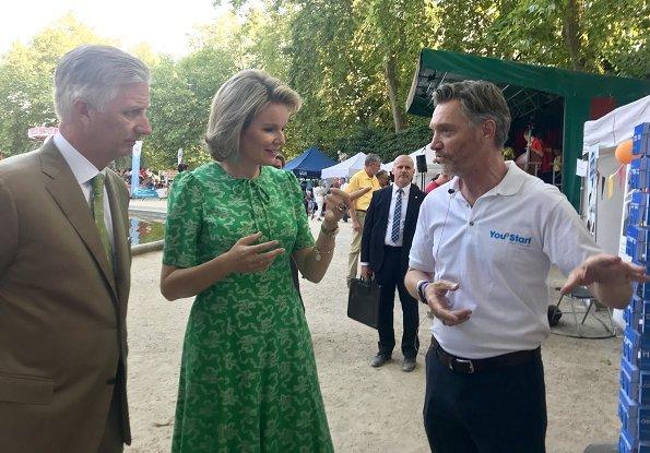 Queen Mathilde wore LK Bennett Montana Green Silk Dress