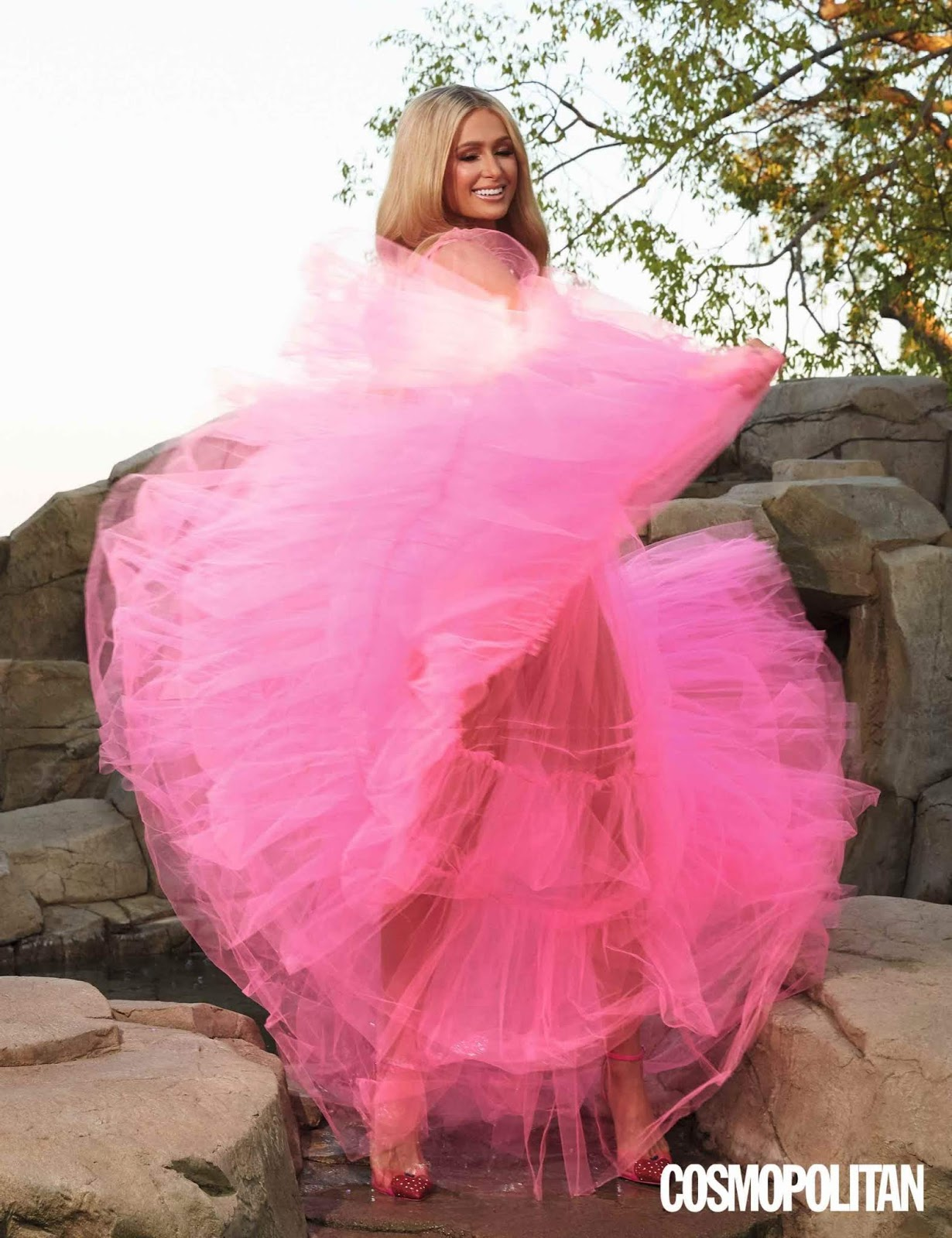 The socialite poses in a stunning ruffled pink gown