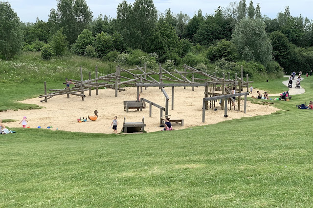 A large sand pit playground at Great Notley Park in Essex