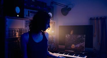 Zoë in the studio