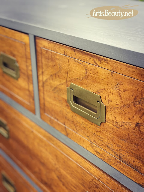 Classic campaign style dresser given a makeover using General finishes milk paint in driftwood gray
