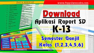 Aplikasi Raport K-13  SD Semester 1  Terbaru dan Lengkap
