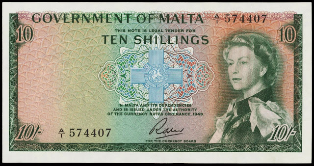 Malta Banknotes 10 Shillings banknote 1949 Queen Elizabeth II and the George Cross