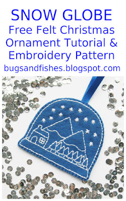embroidered snow globe felt ornament tutorial