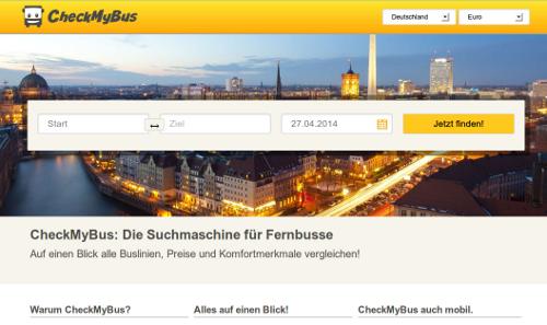 Die Startseite von checkmybus.de