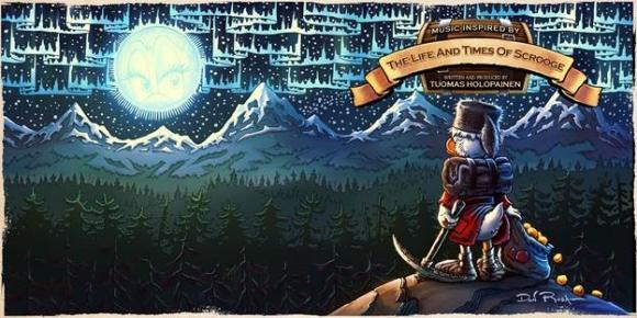 Valokuva Don Rosan piirtämästä Roope Ankasta katselemassa revontulia vuoriston yllä