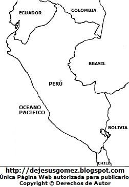 Dibujo del mapa del Perú para colorear pintar imprimir por Jesus Gómez