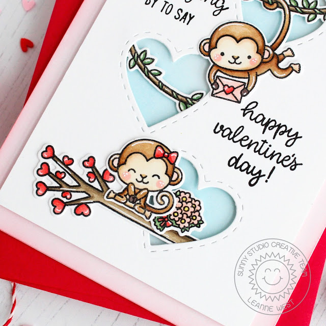 Sunny Studio Stamps: Love Monkey Stitched Hearts Valentines Day Card by Leanne West
